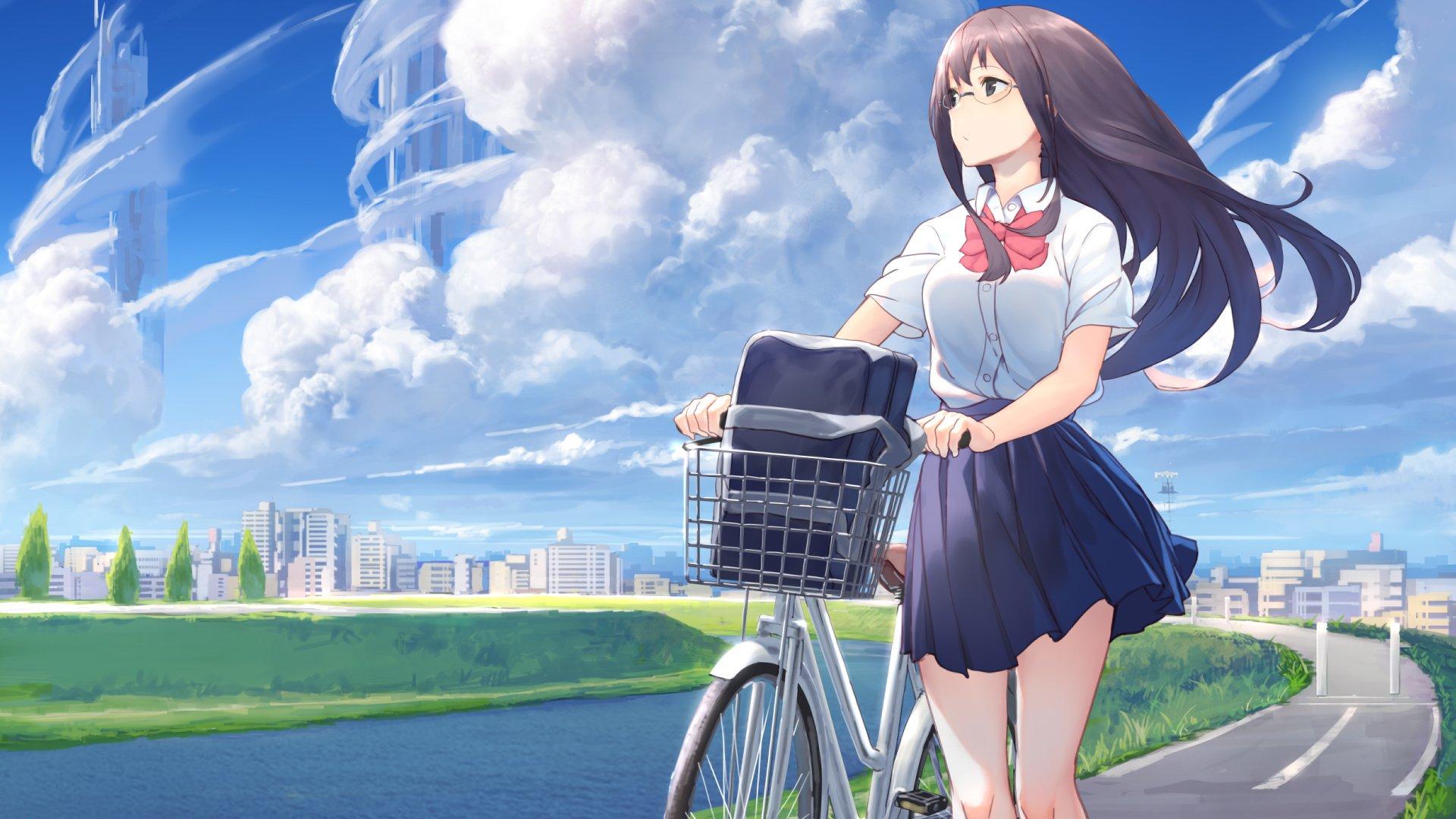 蓝天 白云 骑单车的 短裙 女孩唯美动漫壁纸,高清电脑桌面壁纸