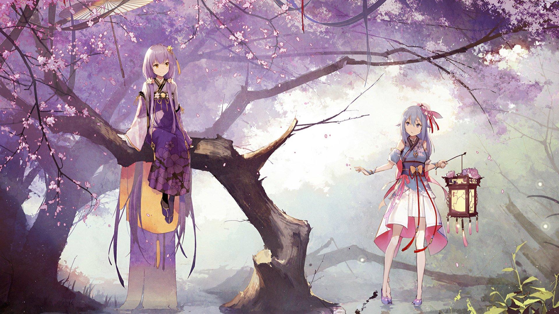 阴阳师 和服 樱花 提灯笼 女孩 高清动漫壁纸,电脑桌面壁纸插图