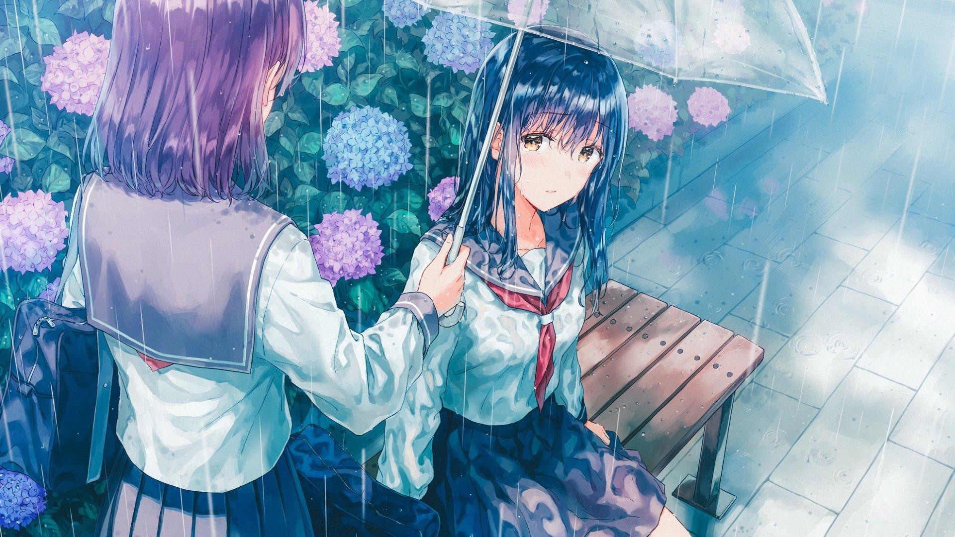 雨天 下雨 雨伞 浑身湿透了的女孩 高清动漫壁纸,高清电脑桌面壁纸
