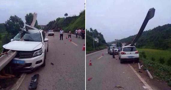 女子驾车扭头递手机 护栏刺穿车身致母身亡