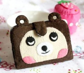漫布不织布材料包 手工diy布艺制作小狗狗卡套卡包包