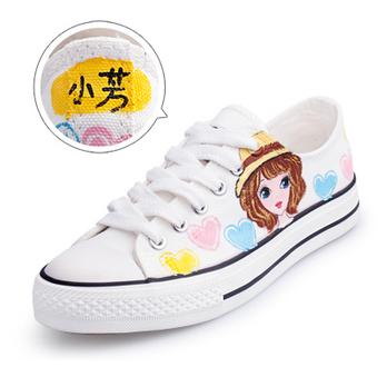 可爱女孩 纯手工手绘 帆布鞋