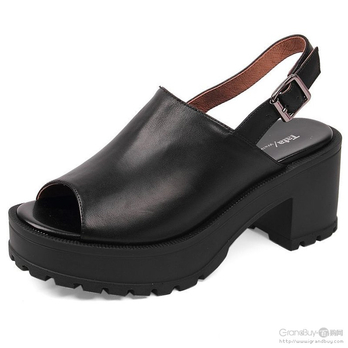 tata他她 黑色小牛皮简约女皮凉鞋