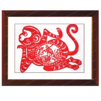 剪纸猴 绣布成品