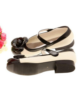黑白玫瑰小皮鞋 - 儿童单鞋/童鞋/婴儿鞋/母婴用品