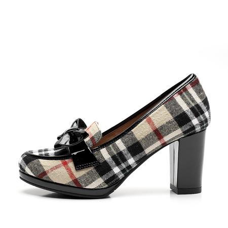 方格布/黑色漆牛皮女皮鞋