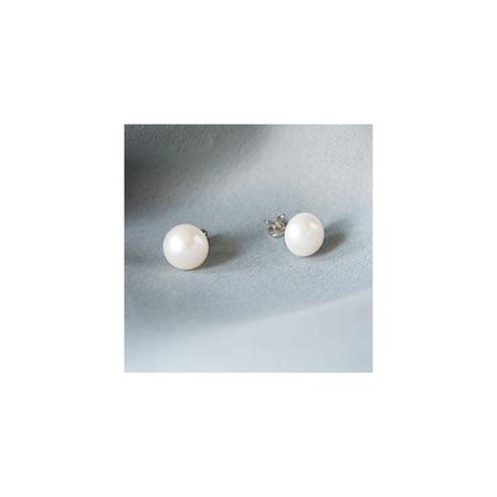 MAIZI 迈姿 简约实用通勤天然淡水珍珠大颗耳钉纯银耳针 中
