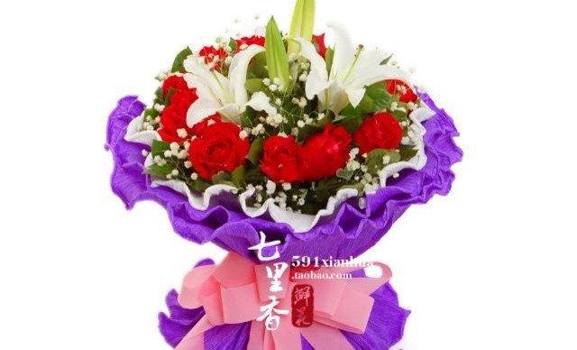11朵红玫瑰加两朵百合花束1束
