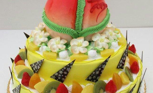 欧式三层水果寿桃蛋糕1个