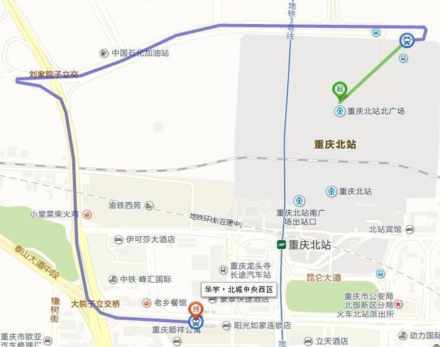 重庆北到龙头寺汽车站怎么走