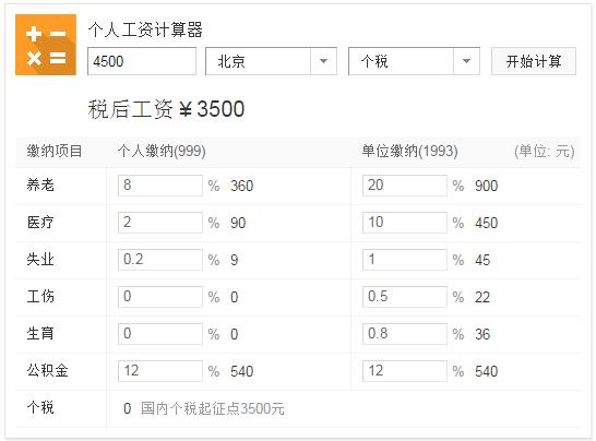 在北京,工资4500,扣除最低基数的五险一金后能