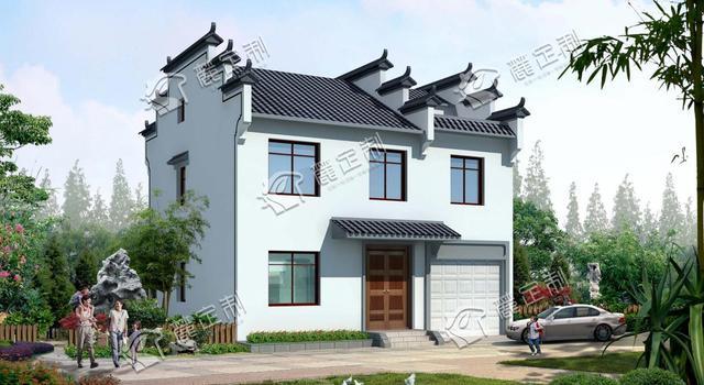 徽派风格带阁楼农村自建房户型图,125平方的大户型