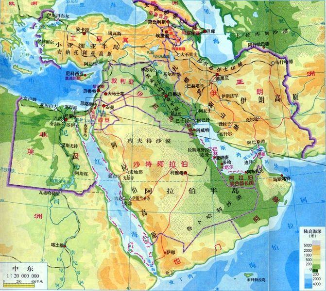 中东地区地图