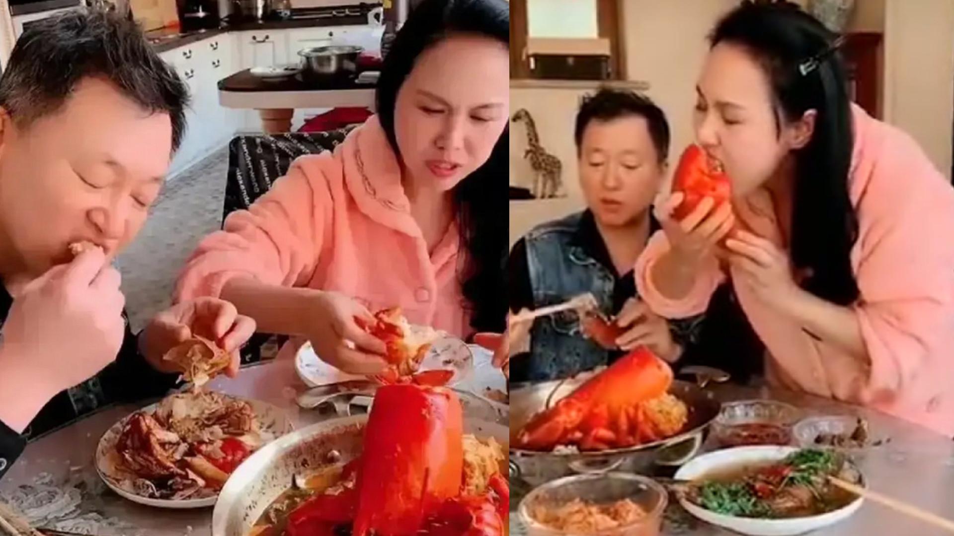 郑爽妈吃大虾吃相难看,站起来往嘴塞,直呼:女儿半个月工资没了