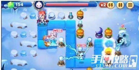 《天天来塔防》白银娃娃第二十九关摧毁冰冠城游戏雪原机的玩法图片