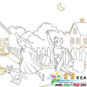 人物,动物,植物,房屋都有的简笔画