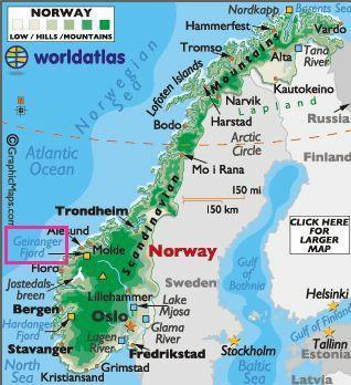 挪威地图高清中文版
