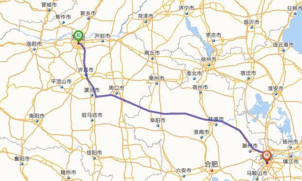 郑州---南京高速路线路径许昌么?
