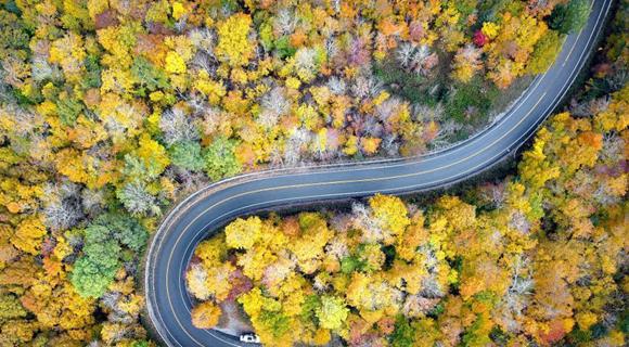 航拍美国盘山公路最美秋色 宛如油彩画廊