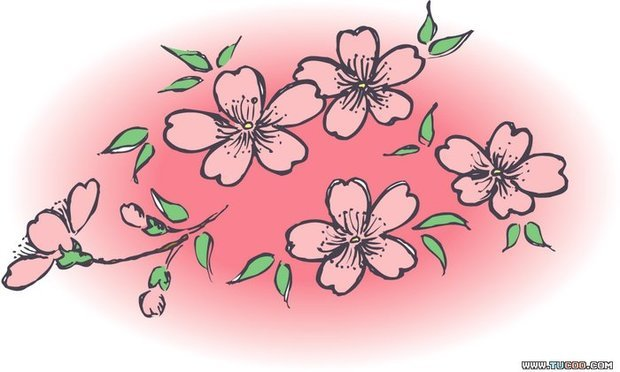 卡通桃花手绘壁纸