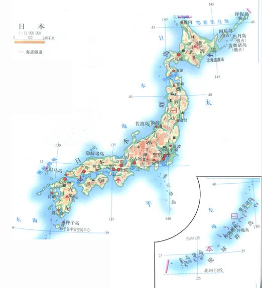 日本经纬度地图