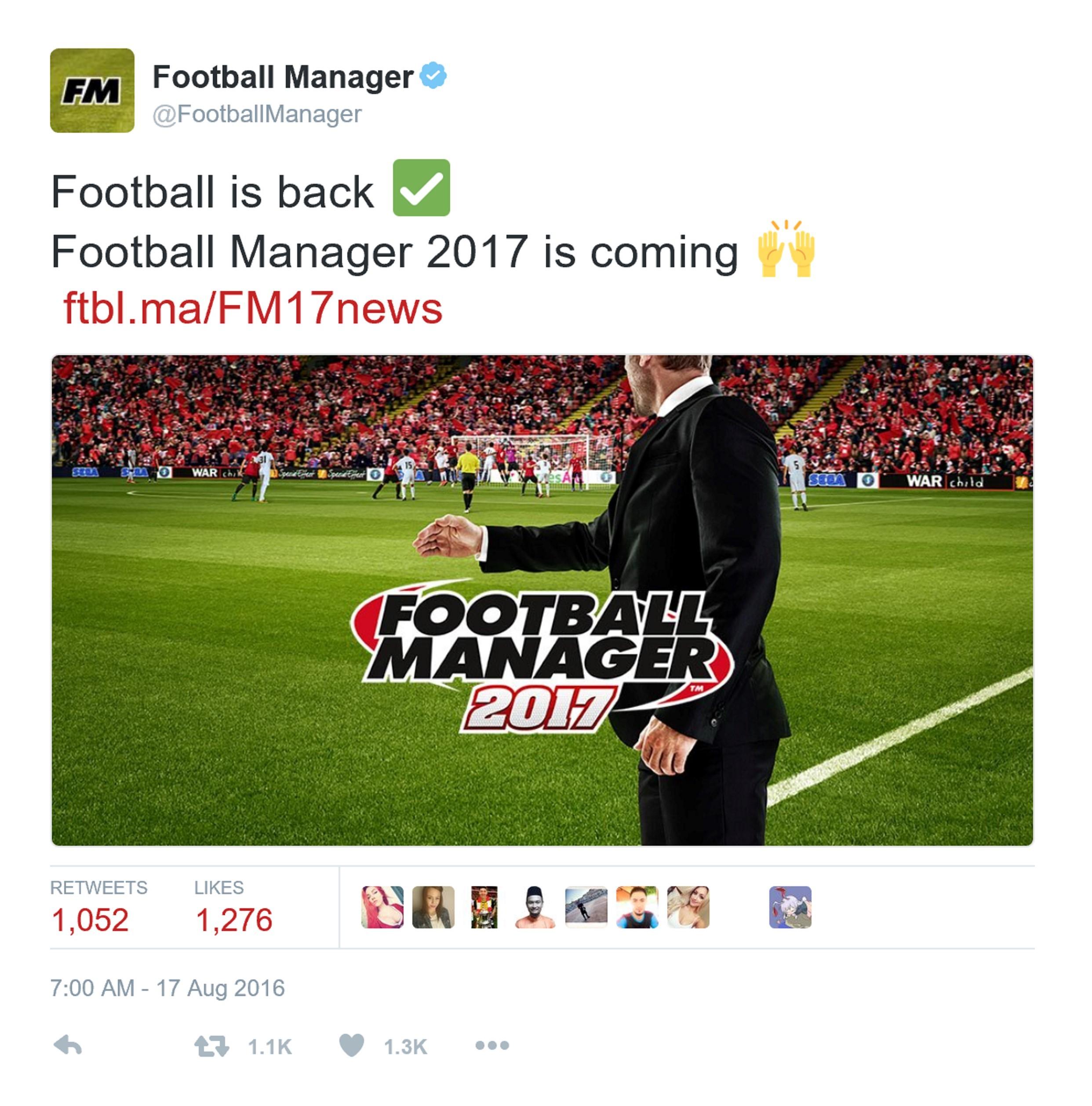 《足球经理2017》11月发行