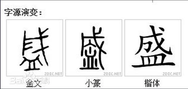 盛古代字怎么写