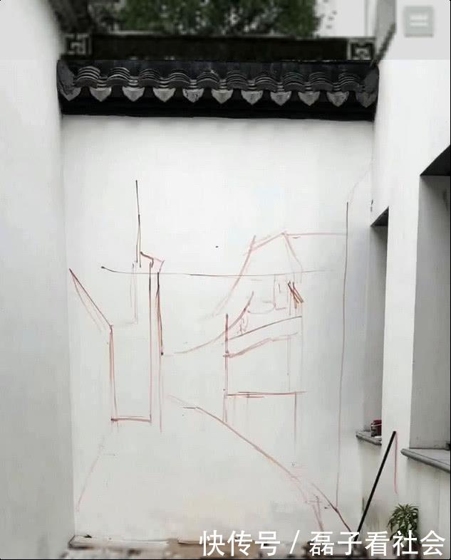 美术生在墙上乱涂乱画,路人频频撞墙!网友:差点我就信了!