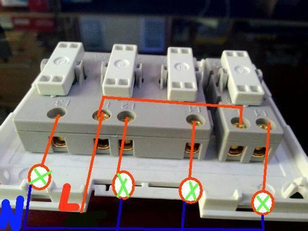 视频电工求解像这种明装四开接线来控制旗舞大神挥图片
