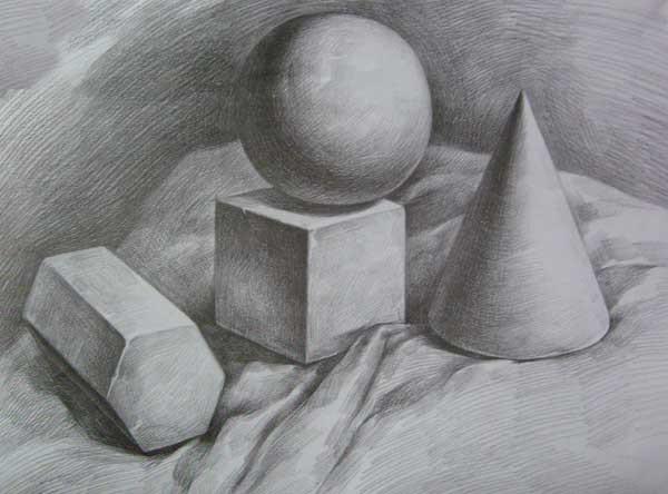 3个素描几何体组合图片【相关词_4个几何石膏素描图片
