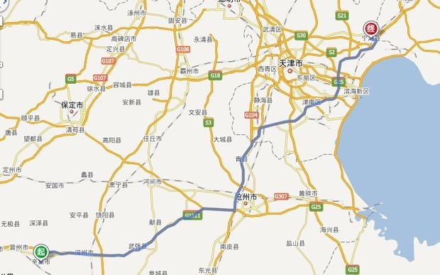 辛集市区去往天津宁河县芦台镇怎么走高速地图
