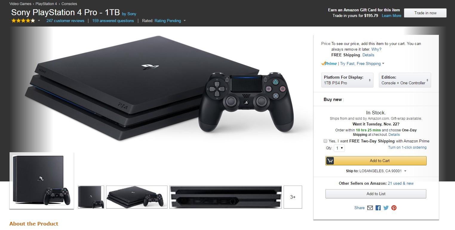 PS4 Pro/Slim黑色星期五亚马逊优惠大酬宾