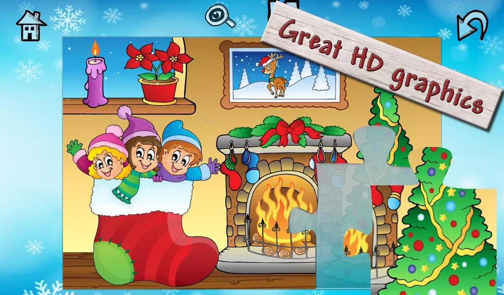 孩子们圣诞老人的圣诞拼图