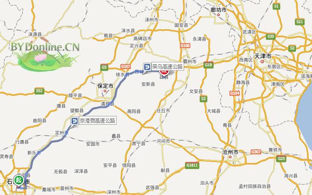 雄县到保定地图