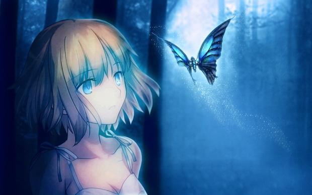 可爱动漫蓝色女生