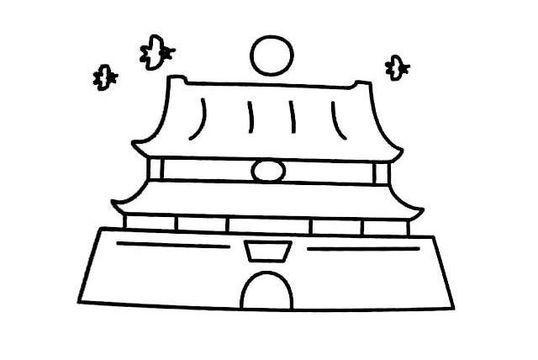 天安门简笔画:英雄纪念碑(二)