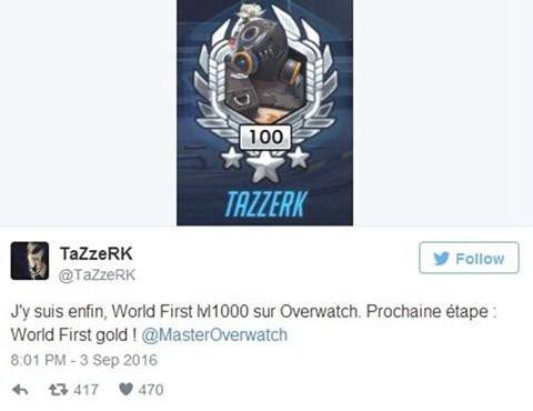 《守望先锋》首位1000级玩家诞生