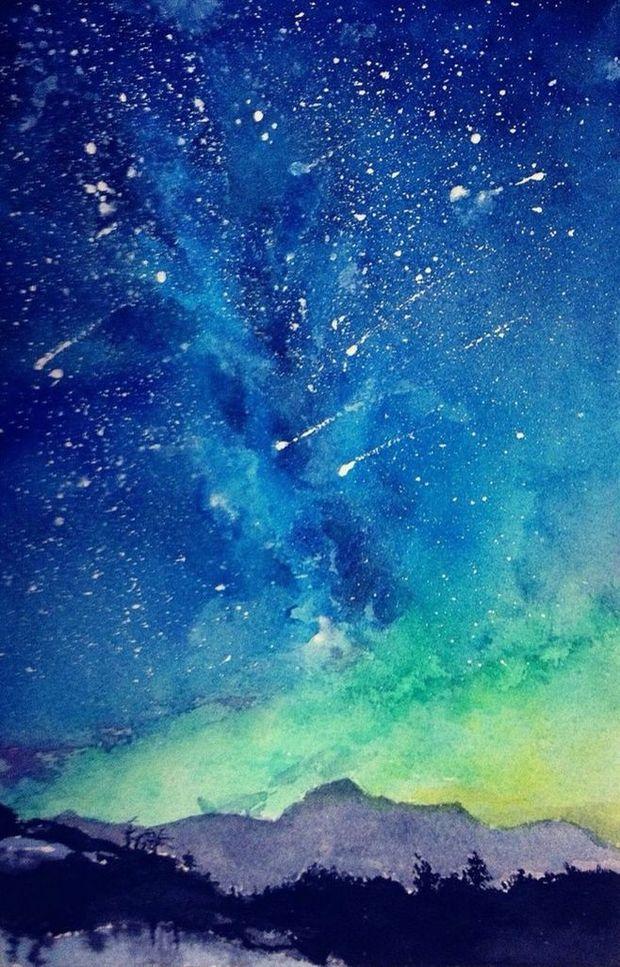 关于美丽星空的手绘画