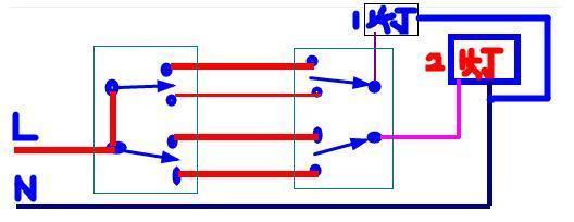 2个双控开关控制分别2个灯怎么接啊.给个图最好
