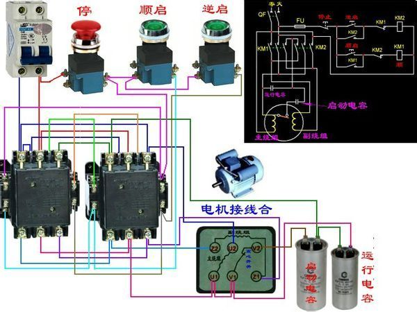 图中接触器接线控制正反转是什么原理?