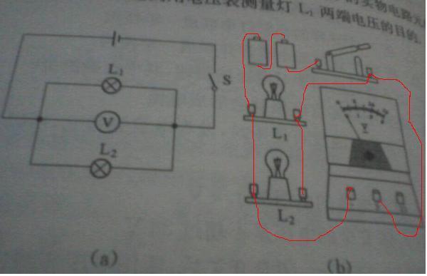 如图所示按图a电路图将图b中的实物电路元件用笔画线
