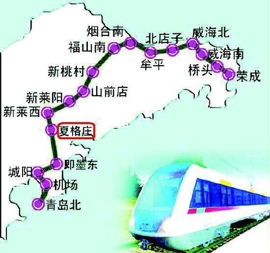 莱西火车站----15公里   青(岛)荣(成)轻轨铁路----2公里   青岛港