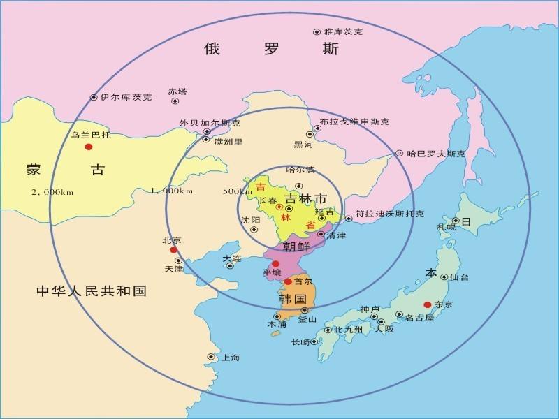 东北亚区域中心地图图片