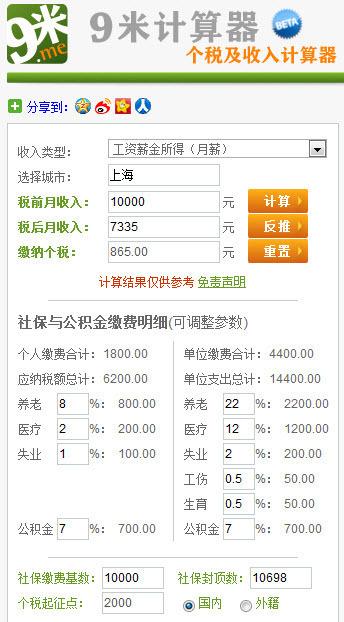 上海税前工资10000那税后能拿多少?交4金._3