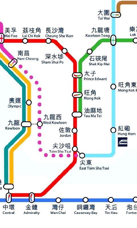 香港地铁线路图 香港旅游签证收费标准