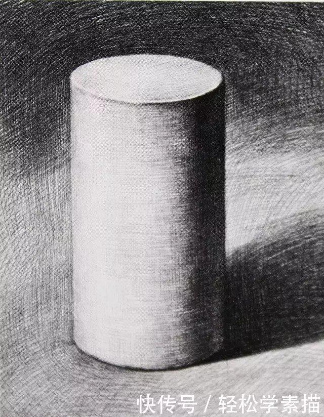 素描基础教程:石膏几何体之-圆柱体画法