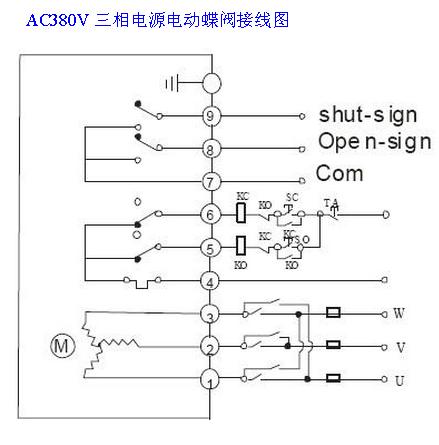 ac380v电动蝶阀实物接线图