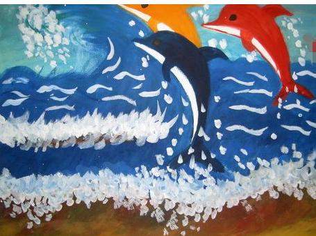 水粉画海豚涂什么颜色
