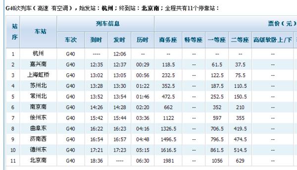 杭州到北京高鐵G40站站查詢_360問答