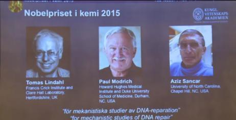瑞典斯德哥尔摩当地时间7日中午11时45分(北京时间17日下午5点45分),2015年诺贝尔化学奖在当地的瑞典皇家科学学院揭晓。